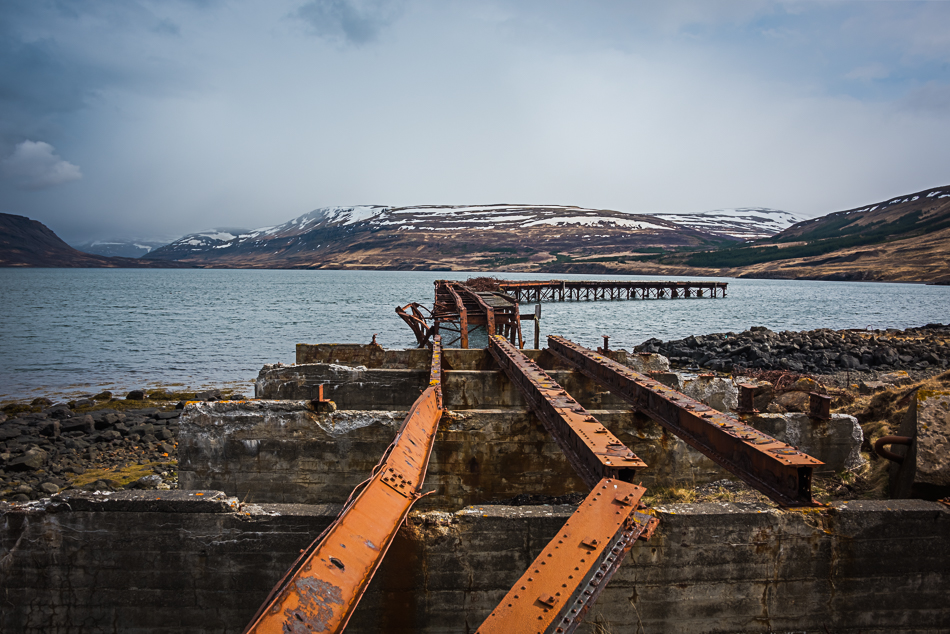 Remains of the pier at the WWII naval base