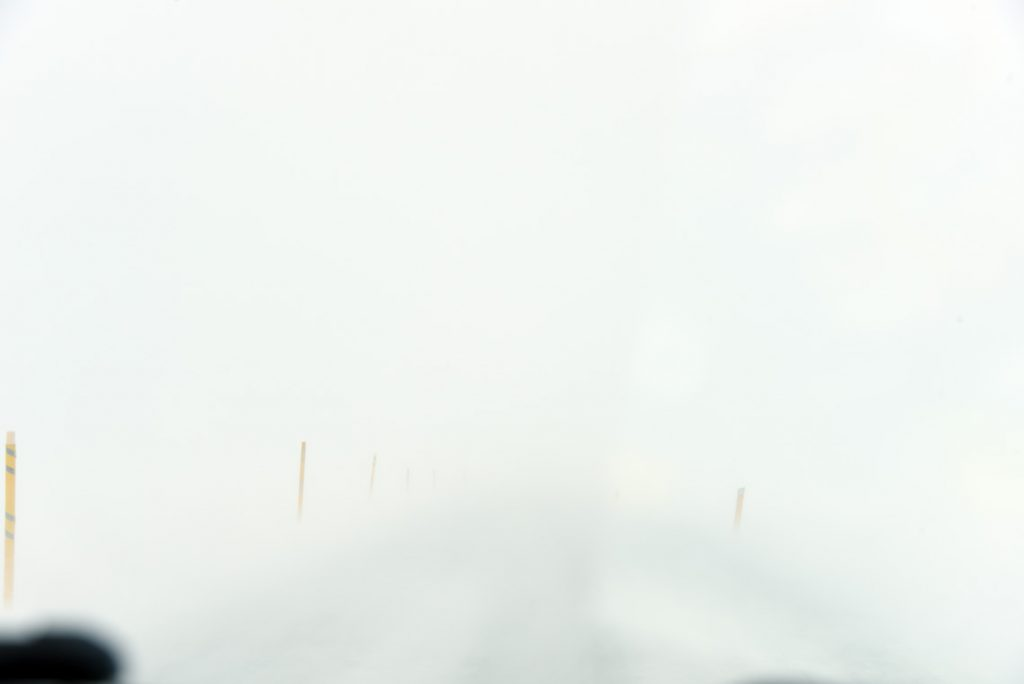 Complete white-out blizzard on the mountain pass