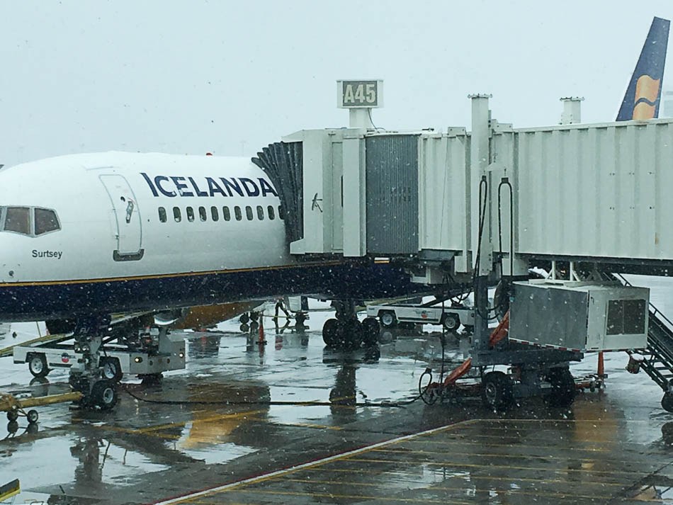 One flight a day - from rain to sunny iceland!