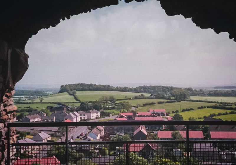 view from one of the small windows to the town of Troon