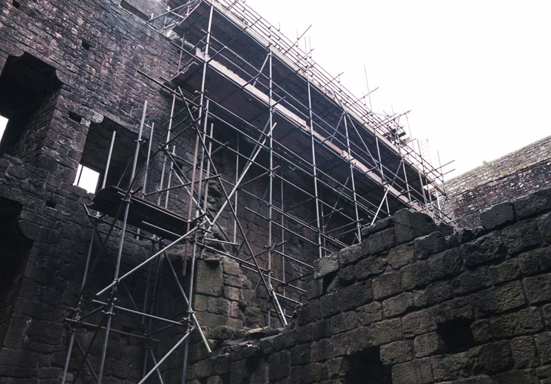 scaffolding for wall repairs, on the inner wall of the castle