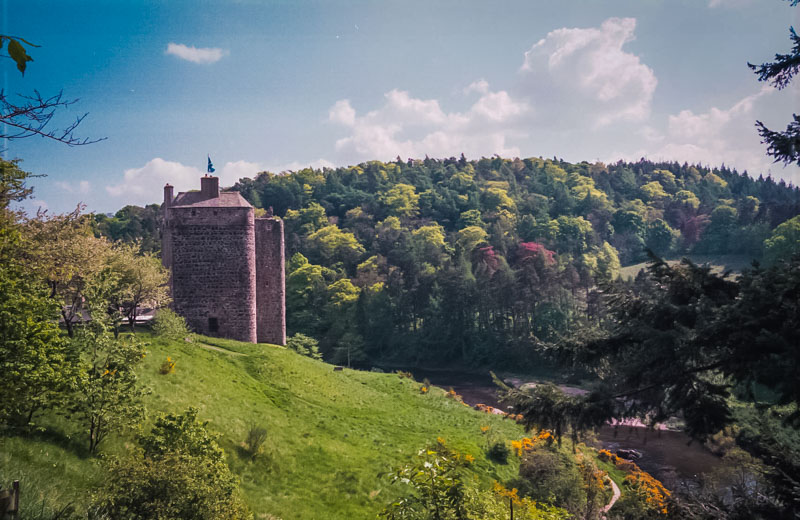 Neidpath sits on a bluff overlooking the tweed