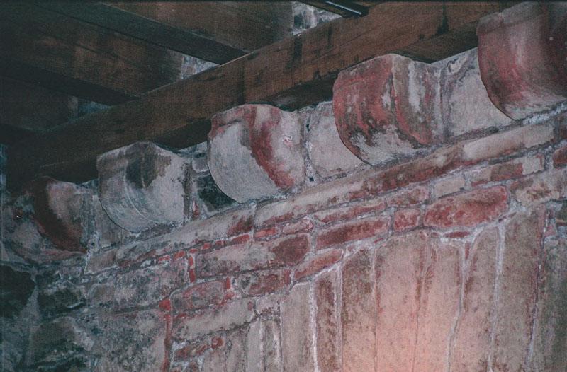 Details of the original corbels holding the floor joists