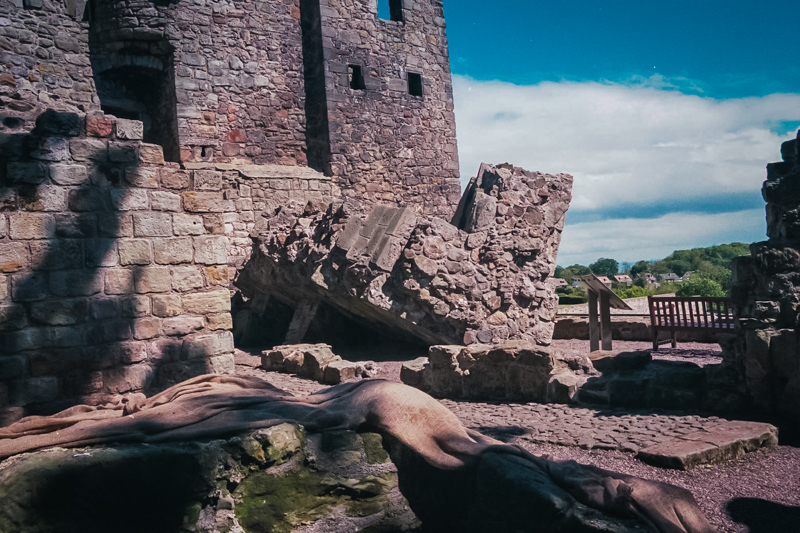 the corner of the old tower, fallen but still in one piece