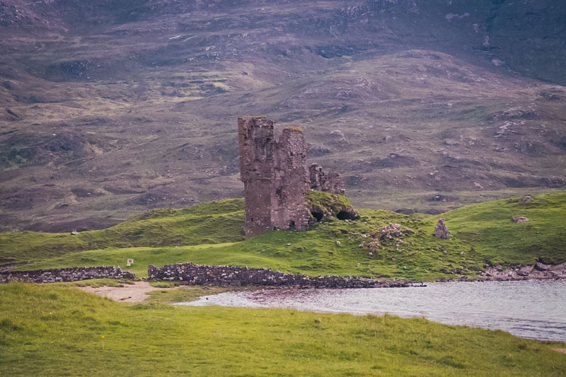 the tower of ardvreck castle, seen from the road