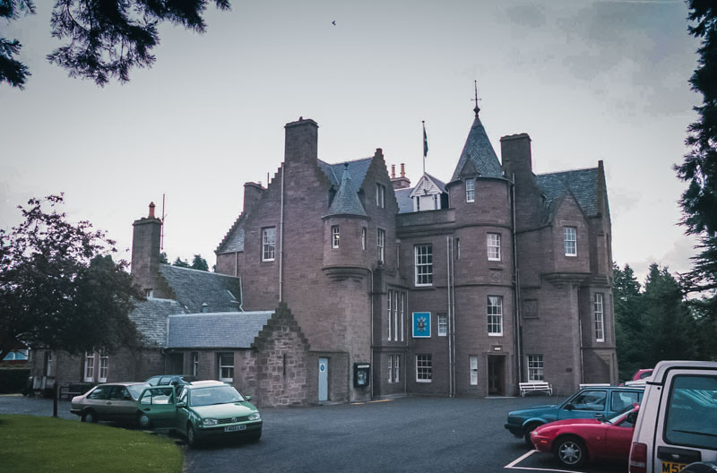 the multi-turreted mansion of Balhousie Castle