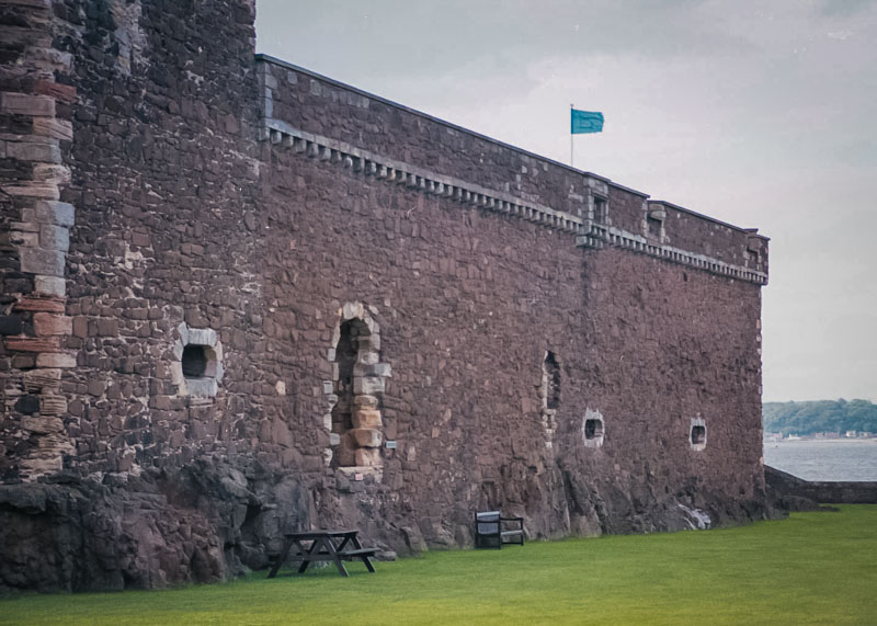 only a few shot-holes pierce the walls for defence