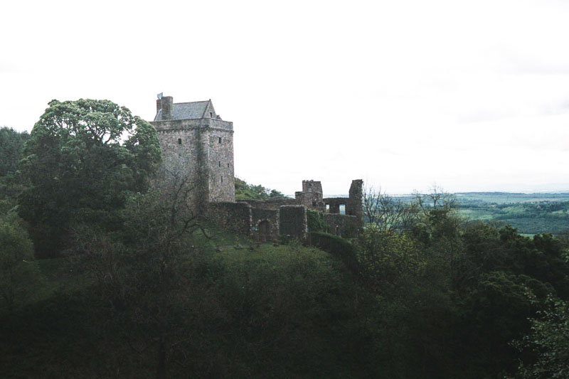 view of the castle from the banks of the glen