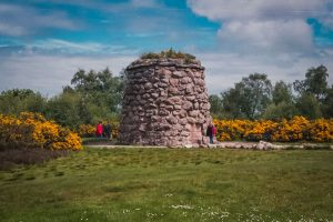 the stone cairn memorializing the dead of Culloden moor