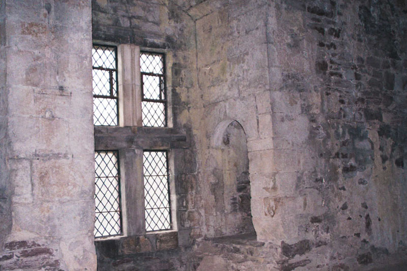 very thick walls frame the windows in the tower and hall
