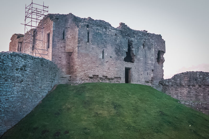 Even inside, the motte slopes sharply up to the tower