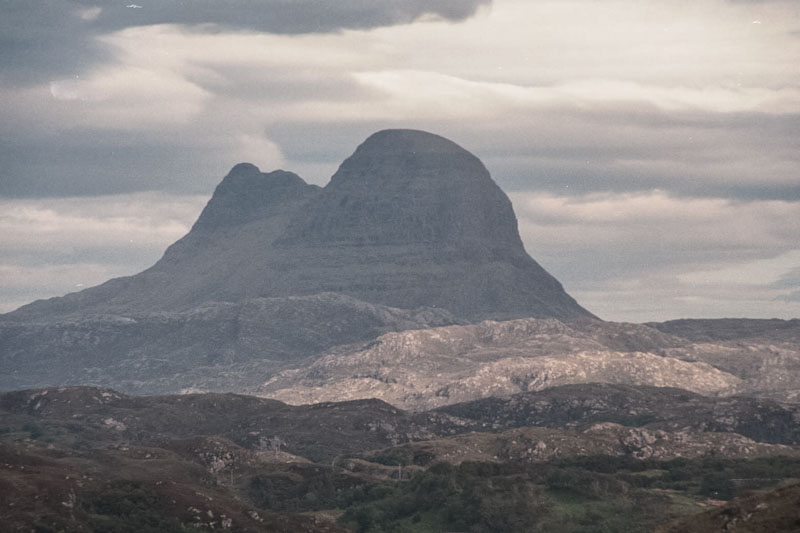 A large double peak in the mountain ranges near Dunbeg