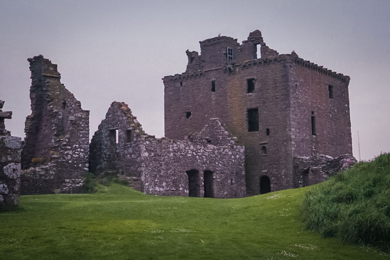 the main tower is well-preserved, but the nearby hall is in ruins