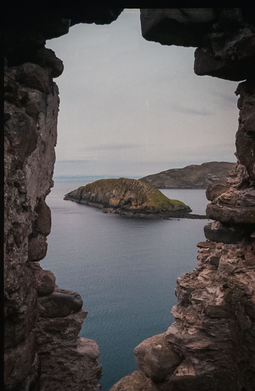 A small island seen through a rare remaining window in the castle