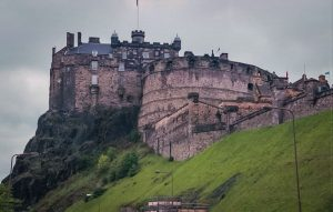 the older part of Edinburgh castle, from below