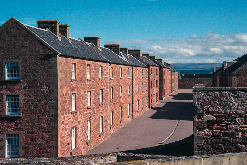 The brick barracks (still occupied) in the main fort