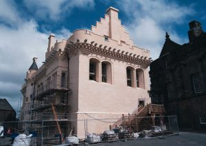 The restored/rebuilt great hall in all its salmon-colored glory