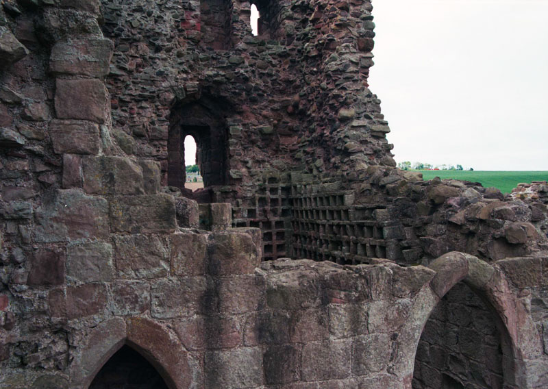 a dovecote in the vaulted ceiling of one of the castle chambers