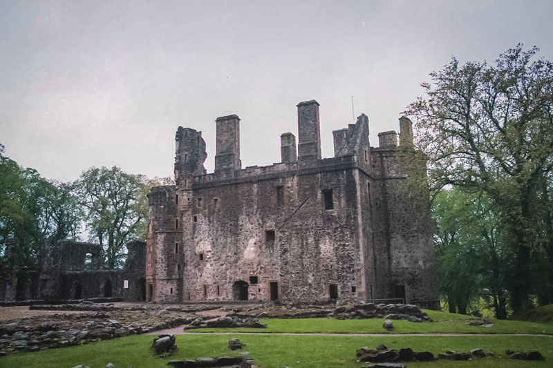 the large towerhouse from the rear grounds