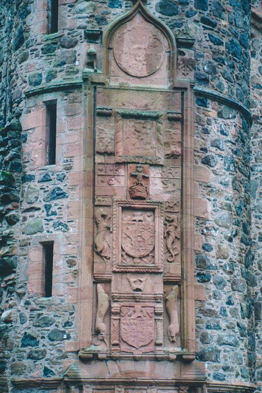 the ornate frontspiece to the tower, defaced by covenanters