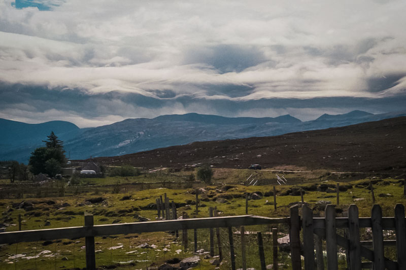The wind howls in with the clouds near Port-na-con and Loch Eriboll