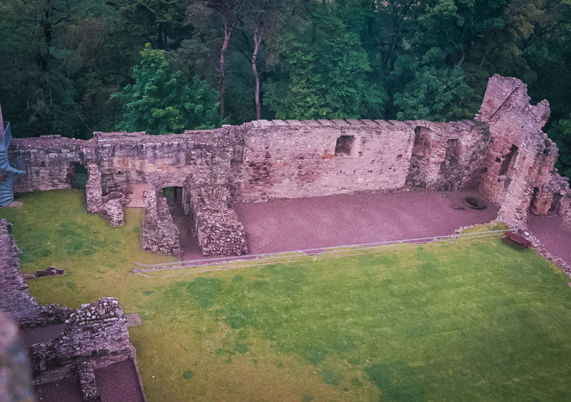 view of the courtyard from the main tower