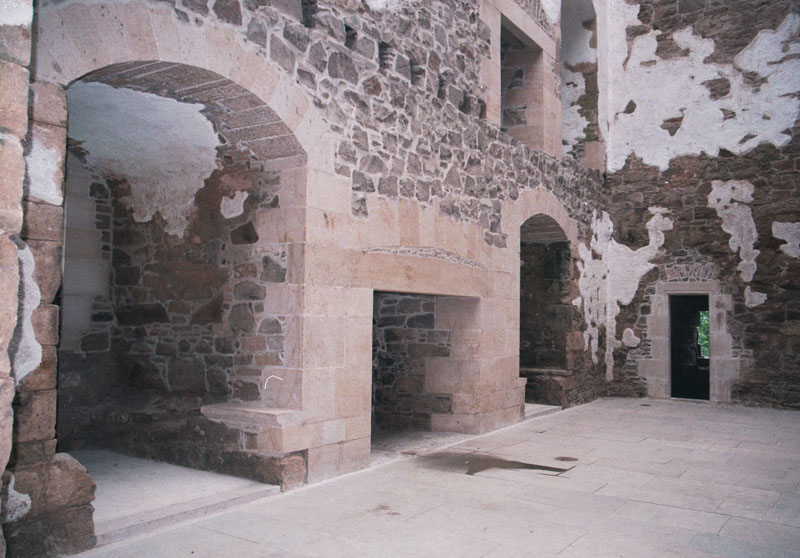 carefully fininshed jambs and fireplaces in the main tower