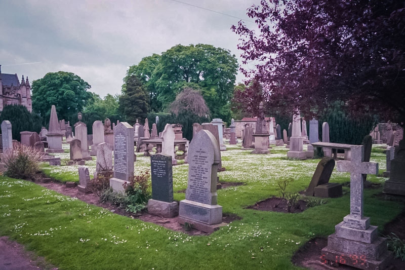 Gravestones from the last few centuries fill the churchyard