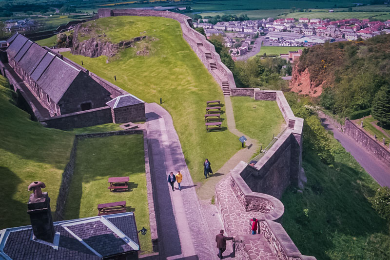 Looking down over the lower bastions