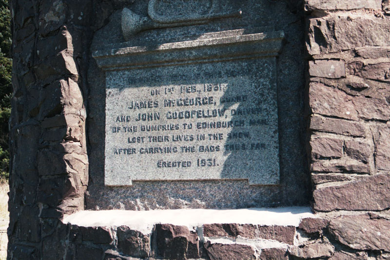 the placque on the cairn, erected in 1931