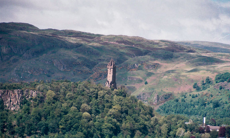 Wallace monument in the sun, from Stirling Castle